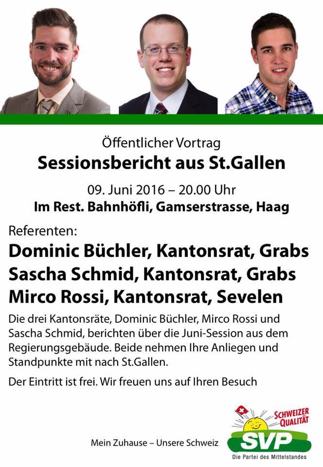 Sessionsbericht aus St. Gallen (Donnerstag, 09.06.2016 um  20.00 Uhr)