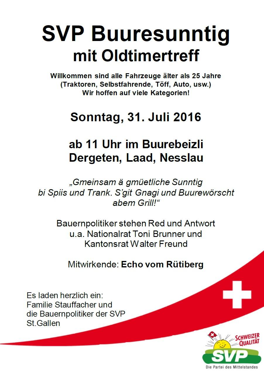 SVP Buuresunntig mit Oldtimertreff (Sonntag, 31.07.2016 um  11.00 Uhr)