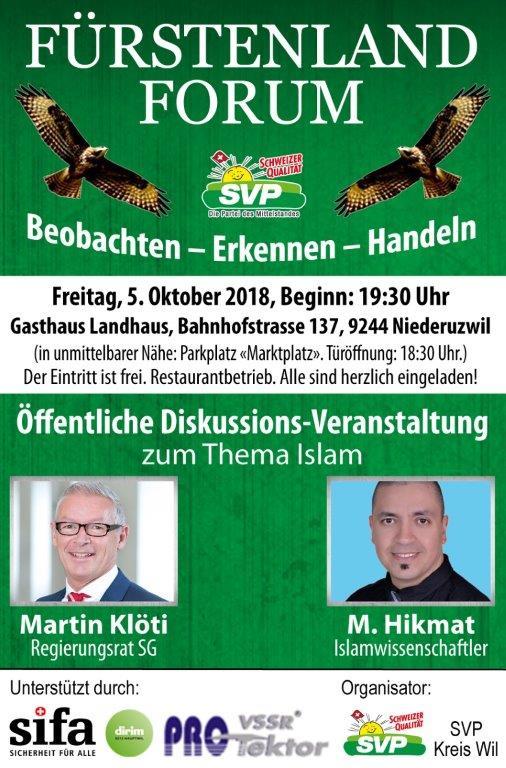 Fürstenland-Forum (Freitag, 05.10.2018 um  19.30 Uhr)