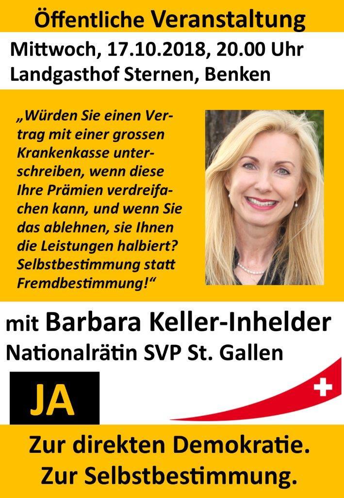 Öffentliche Veranstaltung zur Selbstbestimmungsinitiative mit Nationalrätin Barbara Keller-Inhelder (Mittwoch, 17.10.2018 um  20.00 Uhr)