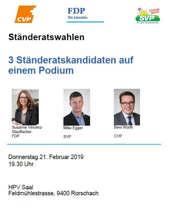 Öffentliches Podium zu den Ständeratswahlen (Donnerstag, 21.02.2019 um  19.30 Uhr)