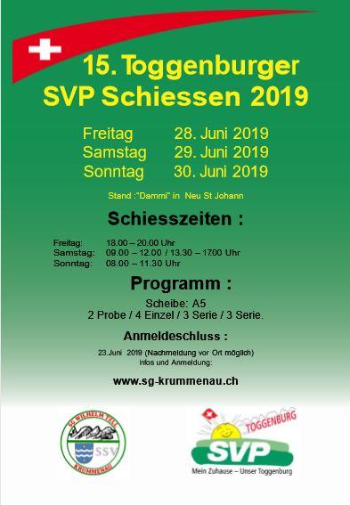 15. Toggenburger SVP Schiessen 2019 (Freitag, 28.06.2019 bis Sonntag, 30.06.2019)