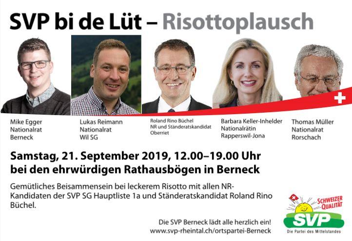 SVP bi de Lüt mit Risottoplausch (Samstag, 21.09.2019)