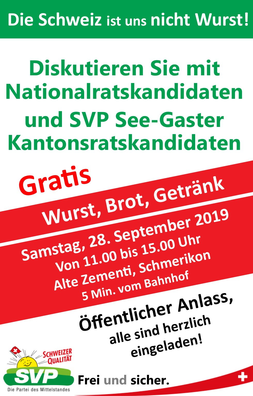 SVP bi de Lüt in Schmerikon (Samstag, 28.09.2019 um  11.00 Uhr)