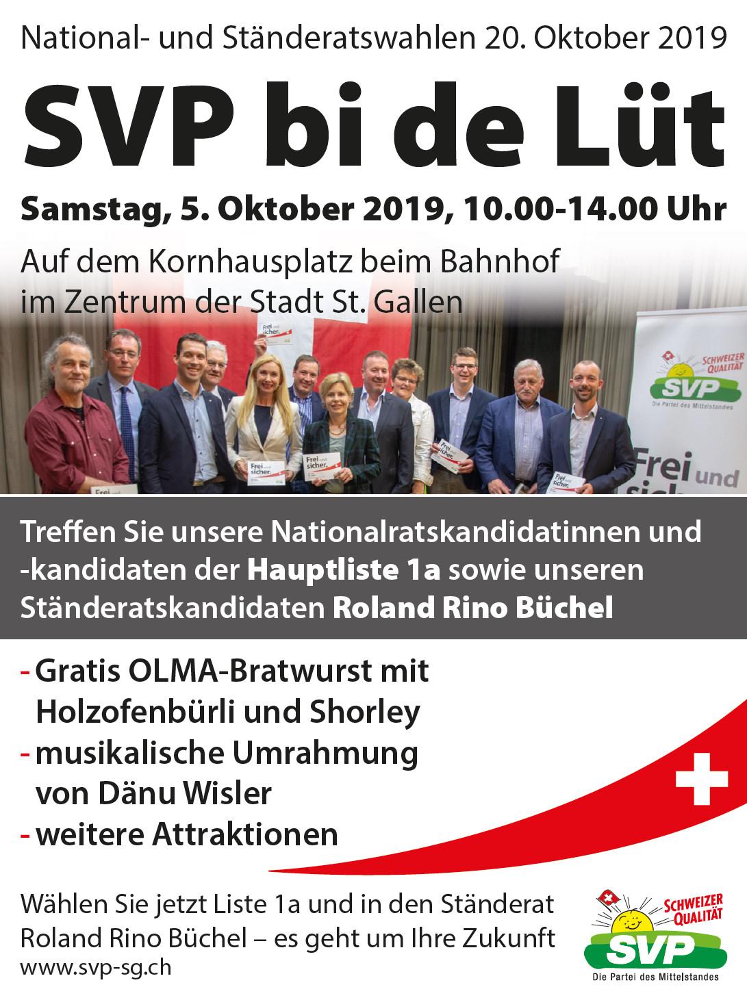 SVP bi de Lüt auf dem Kornhausplatz im Zentrum der Stadt St. Gallen (Samstag, 05.10.2019)