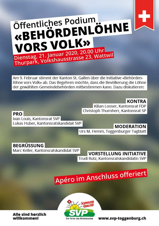 Podiumsdiskussion - Behördenlöhne vors Volk! (Dienstag, 21.01.2020)