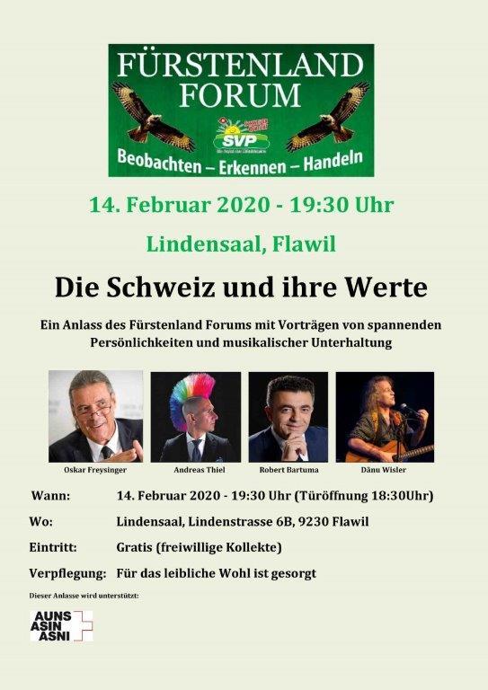 Fürstenlandforum mit Oskar Freysinger, Andreas Thiel, Robert Bartuma und Dänu Wisler (Freitag, 14.02.2020 um  19.30 Uhr)