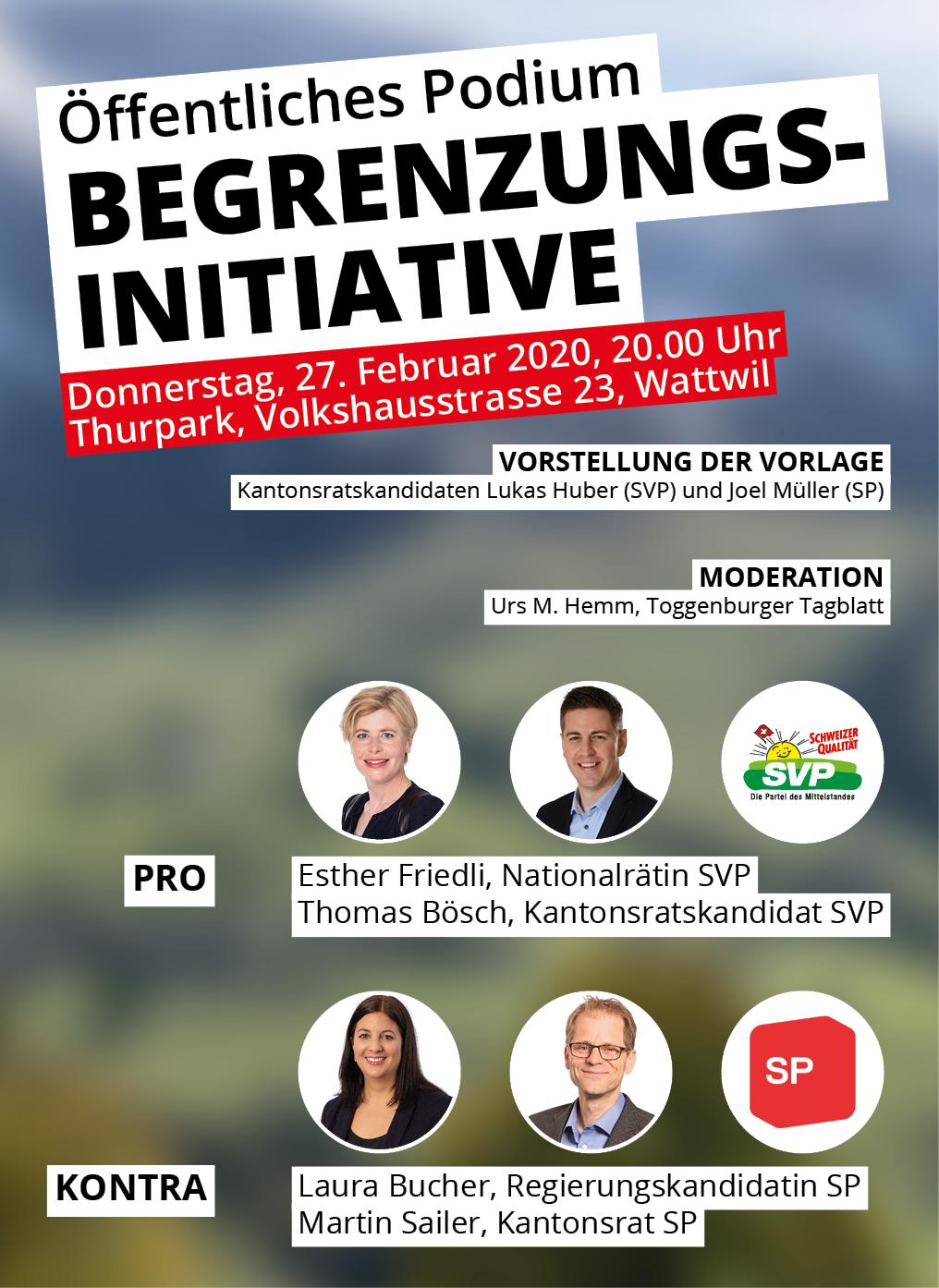 Öffentliches Podium zur Begrenzungsinitiative (Donnerstag, 27.02.2020 um  20.00 Uhr)
