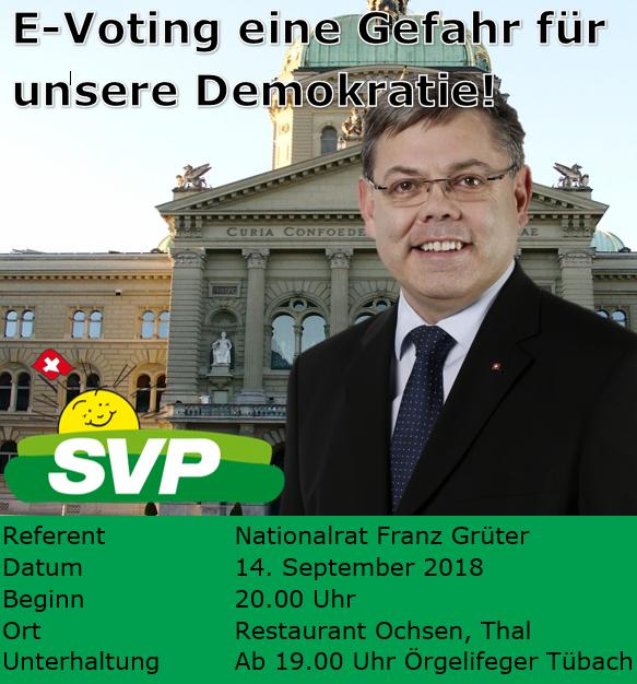 E-Voting - eine Gefahr für unsere Demokratie! (Freitag, 14.09.2018 um  20.00 Uhr)