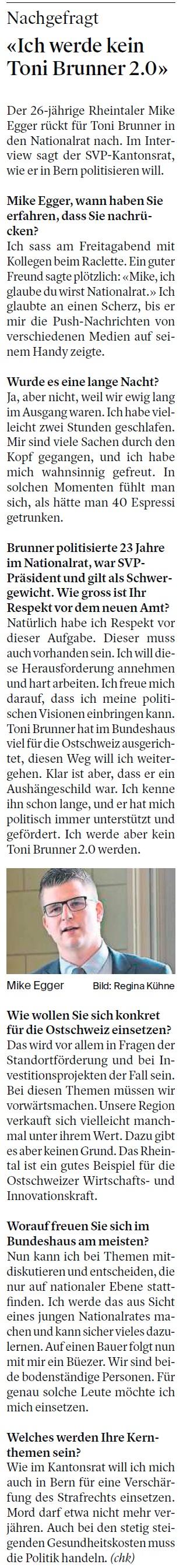 «Ich werde kein Toni Brunner 2.0» (Sonntag, 25.11.2018)