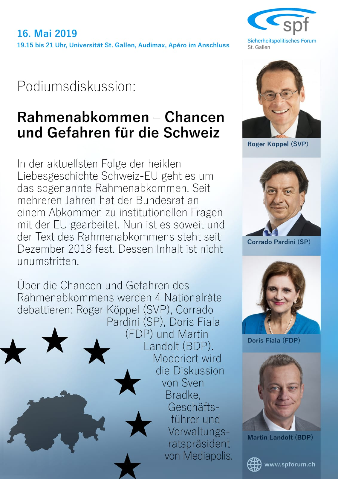 Podiumsdiskussion «Rahmenabkommen – Chancen und Gefahren für die Schweiz» u.a. mit Nationlrat Roger Köppel (Donnerstag, 16.05.2019 um  19.15 Uhr)